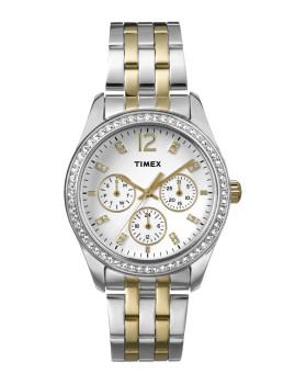 Relógio Timex Relógio Tx Two-Tone Multifunções Prateado e Bicolor, Branco