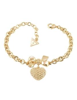 Pulseira dourada com cristal em coração Guess