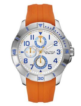 Relógio Nautica Prateado, Laranja e Branco