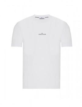 T-shirt Stone Island Branco Gola Ciclista Homem