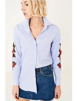 Camisa SHOT mangas bordadas azul Ref 102
