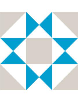 Conjunto de 12 ou 24 Azulejos Autocolantes Geometric Azuis, Cinza e Brancos