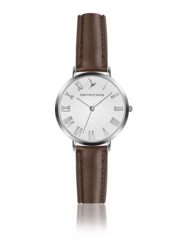Relógio Emily Westwood Prateado e Castanho Marshmallow Branco
