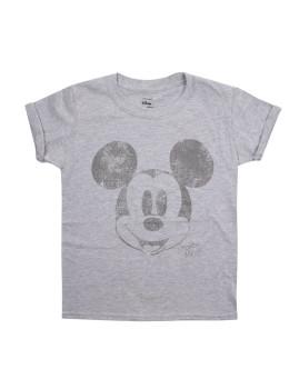 T-Shirt Disney Metallic Face Menina Cinza