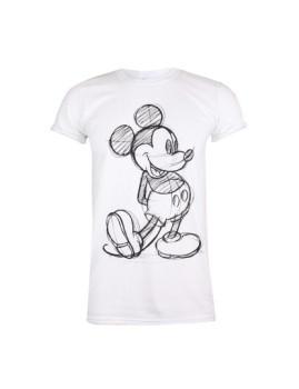 T-Shirt Senhora Mickey Sketch Branco