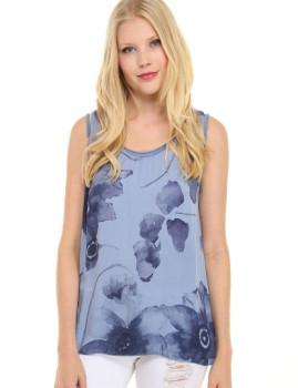 T-shirt Dioxide Mariya Azul Celeste e Azul Navy
