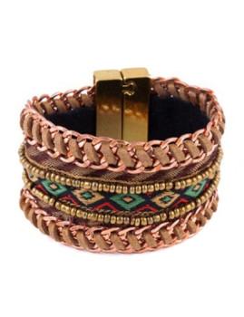 Bracelete Woven Dourado&Verde