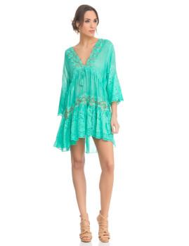Vestido de Renda com Flores Bordadas Verde