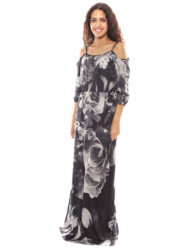 Vestido Longo floral preto e branco