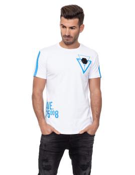 T-shirt Homem Branco-Azul