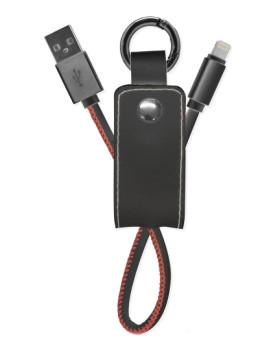 Porta-Chaves com cabo 8 PIN Style em Couro Preto