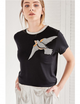 T-Shirt SHOT Pássaro preto Ref 130