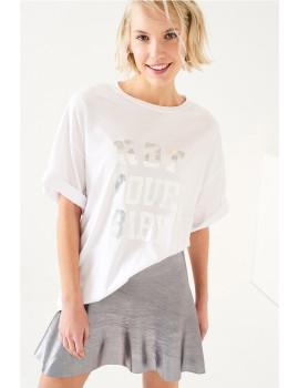 T-Shirt SHOT Lettering Prata Branca Ref 121