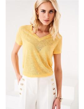 T-Shirt SHOT decote em v amarelo Ref 118