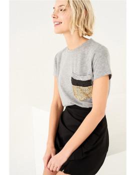 T-Shirt SHOT Bolso lantejoulas cinza mesclado Ref 118