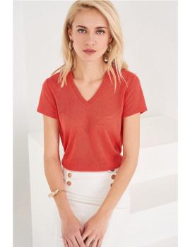 T-Shirt SHOT decote em v vermelho  Ref 118