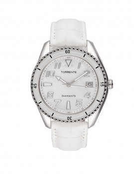Relógio Senhora  Fortuna Pulseira  Pele Branco Diamante  0,01/2