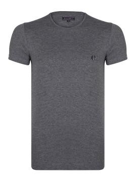 T-Shirt Homem Felix Hardy Cinza Escuro Mesclado e Marinho
