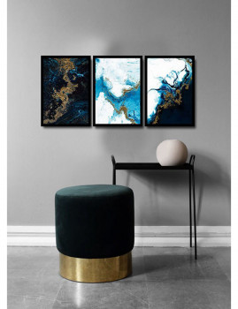 imagem de Pack 3 Quadros Abstract Azul1
