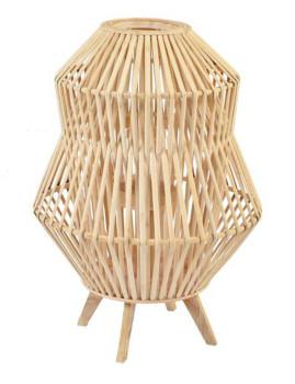 Porta-Velas Bambú Vidro Natural Castanho