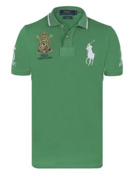 Pólo Ralph Lauren New Mesh Fancy Homem Verde e Branco