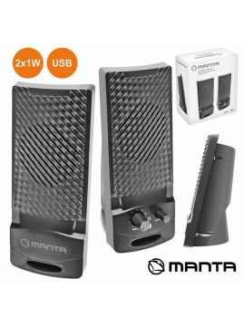 Conjunto de 2 Colunas Portatéis para PC c/ Ligação USB by Manta!