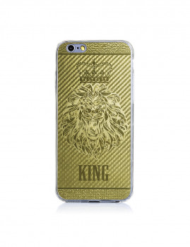 2 In 1 Vidro Temperado + Capa De Gel Aluminio Tigre Big Dourado Iphone 6 Dourado
