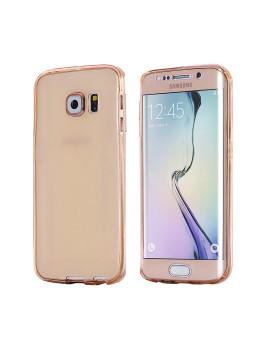 Capa Dourado Rosa De Silicone dianteira  + Traseira Para Samsung S6 Edge Rosa Dourado