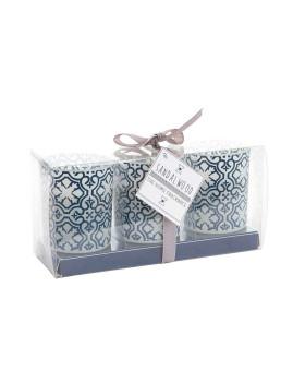 Vela Conjunto 3 Perfume Vidro Azulejo Azul