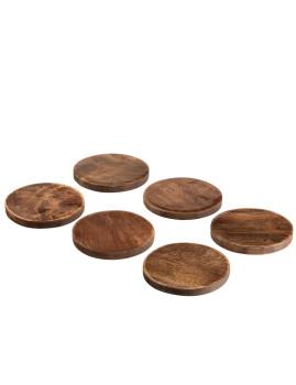 imagem de Conjunto de 6 Porta-Copos de Madeira de Mango 2