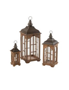 imagem de Conjunto de 3 Lanternas Chalet em Madeira de Abeto1
