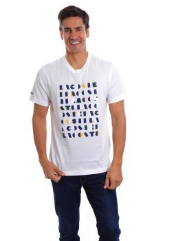 T-Shirt Lacoste Homem Branco e Multicolorido