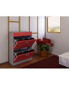 imagem de Sapateira Terry 2 Portas e 1 Gaveta Cinza e Vermelho2