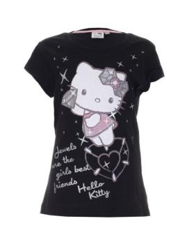 T-shirt Hello Kitty Menina Diamonds Preta