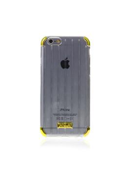 Capa de Silicone Transparente Esquinas Cor Ip6 Transparente/Dourado