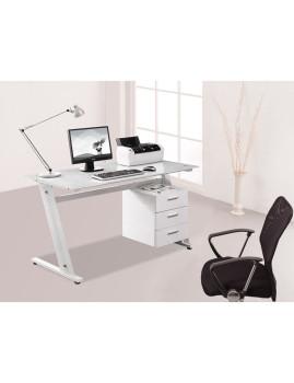 Mesa de Computador com Tampo de Vidro e 3 Gavetas Branco