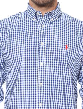 Camisa Ralph Lauren Xadrez Branco e Azul Navy 5486fb6500a