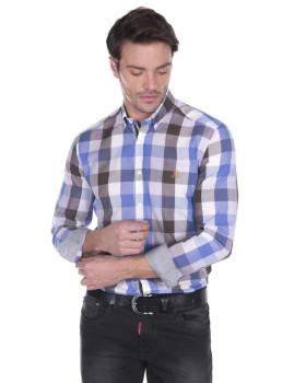 Camisa Giorgio di Mare Azul e Castanha