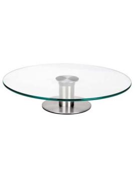 Base giratória vidro e inox 30 cm