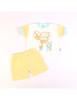 T-Shirt e Calções (Anti-Mosquito) Amarelo e Branco