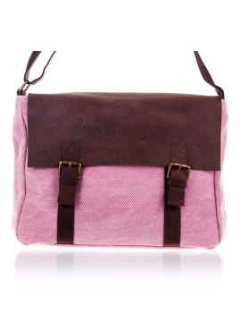 Bolsa de Ombro Satchel Modelo Pescasseroli de Fibras Naturales e Pele Camurça Rosa