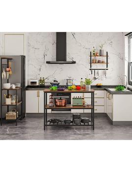 imagem de Mesa Cozinha Com Bancada Larga Castanho Rústico E Preto3