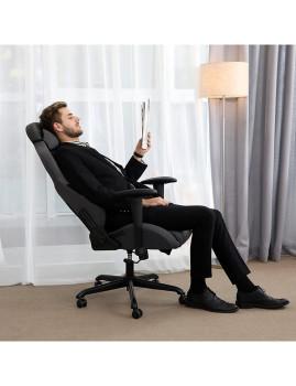 imagem de Cadeira Gaming Com Suporte Lombar Cinza E Preto2