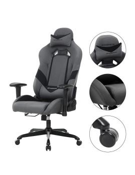 imagem de Cadeira Gaming Com Suporte Lombar Cinza E Preto4