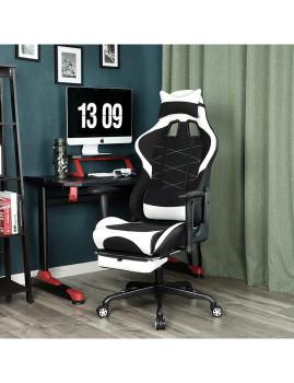 imagem de Cadeira Gaming Ajustável Preto E Branco4