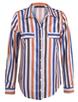 Camisa Paul Parker Laranja, Castanha e Azul Navy
