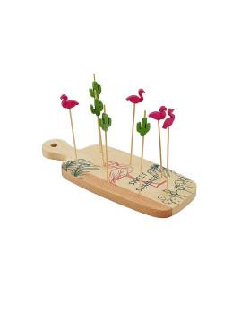 Tábua Aperitivo Conjunto 15 Bambú 23X9X2 Flamingo Rosa