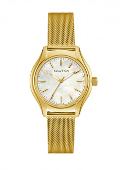 Relógio Nautica Senhora Dourado e Branco Madre Pérola