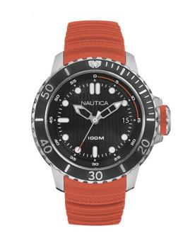 Relógio Nautica Homem Prateado e Laranja