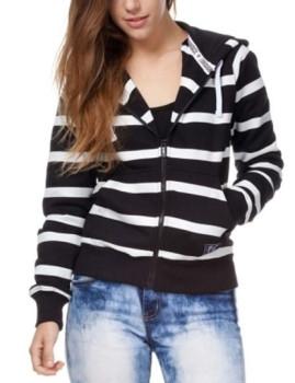 Sweatshirt com Capuz com Fecho The Indian Face Preto e riscas Brancas de Senhora
